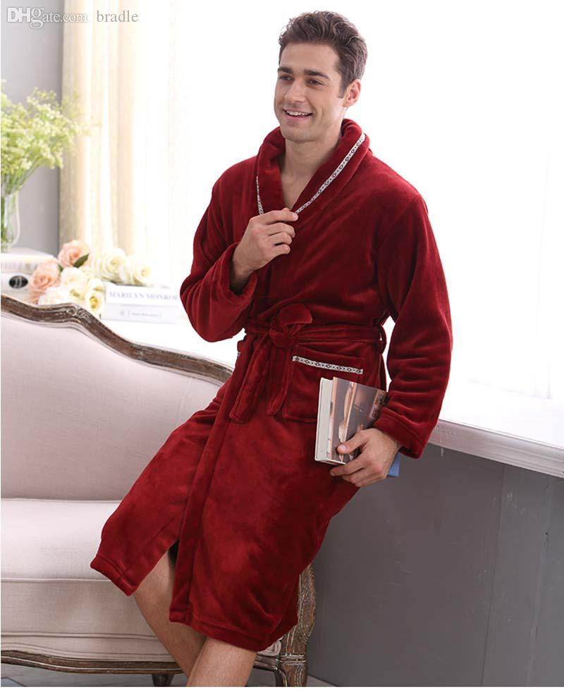 a6c824583b 2019 Wholesale Autumn And Winter Coral Fleece Velvet Bathrobe Robe  Thickening Flannel Robe Bathrobes Men Lounge Sleepwear Bathrobes Male From  Bradle