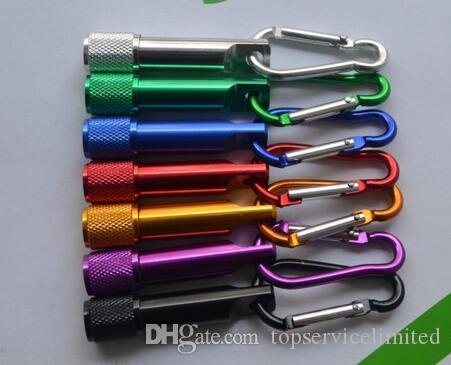 natal aniversário acende presentes LED Mini Lanterna da liga de alumínio da tocha com corrente mosquetão anel Chaveiros Key mini-lanterna LED