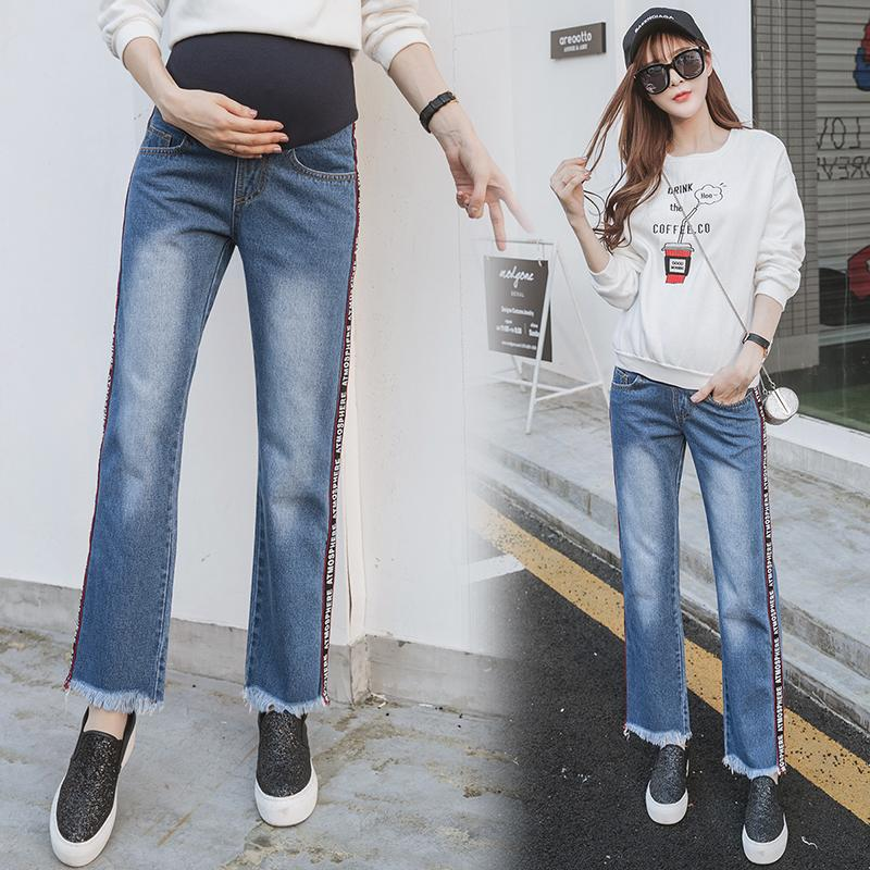 4f7bdb5ee12 2019 Street Fashion Maternity Jeans Straight Casual Trousers Clothes For  Pregnant Women Autumn Pregnancy Belly Pants From Mingway245