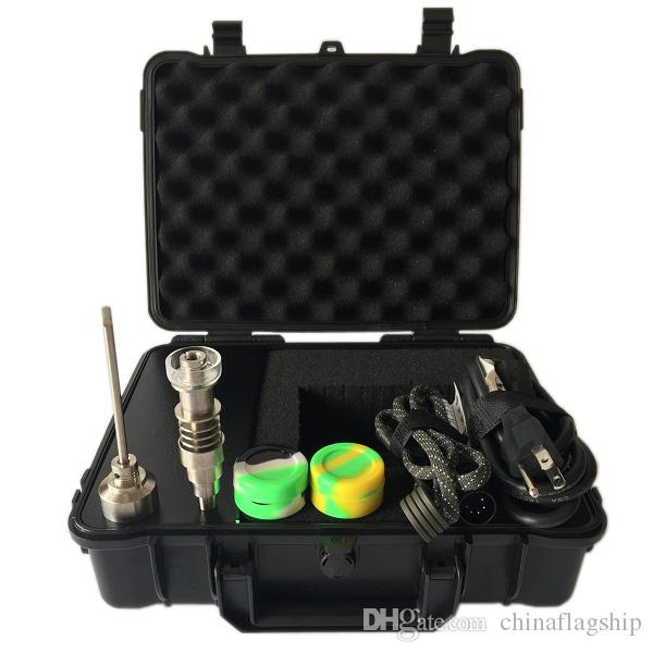 Wonderful Portable Box E Digital Nail Kit with new Upgrade Ti/Qtz hybrid nail Fit heater coils for oil rig glass bong