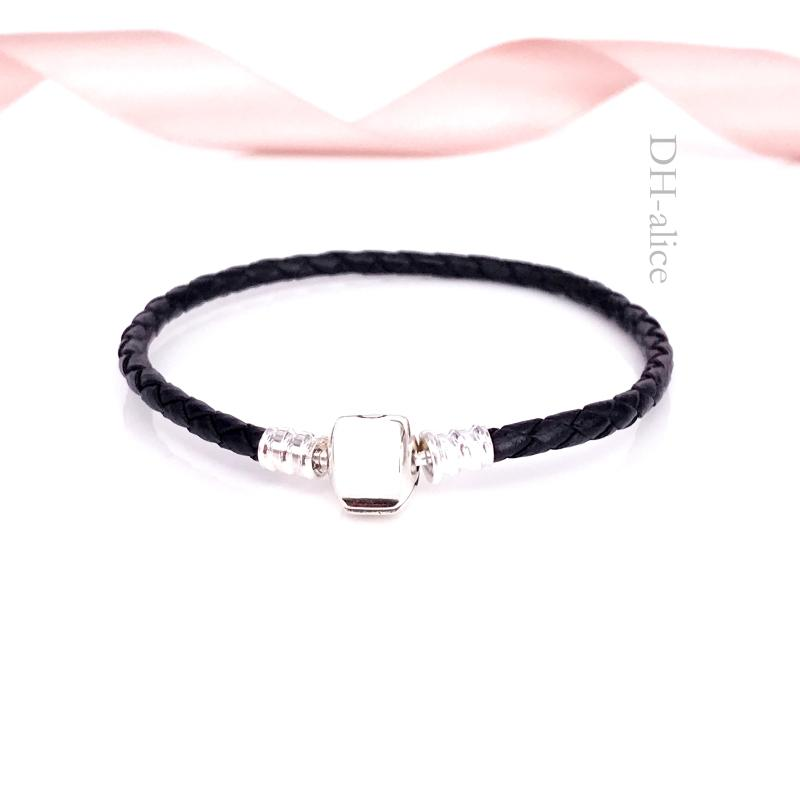 Authentic 925 Sterling Silver Moments Single Woven -Leather Bracelet Black Fits European Pandora Style Jewelry Charms Beads 590705CBK-S
