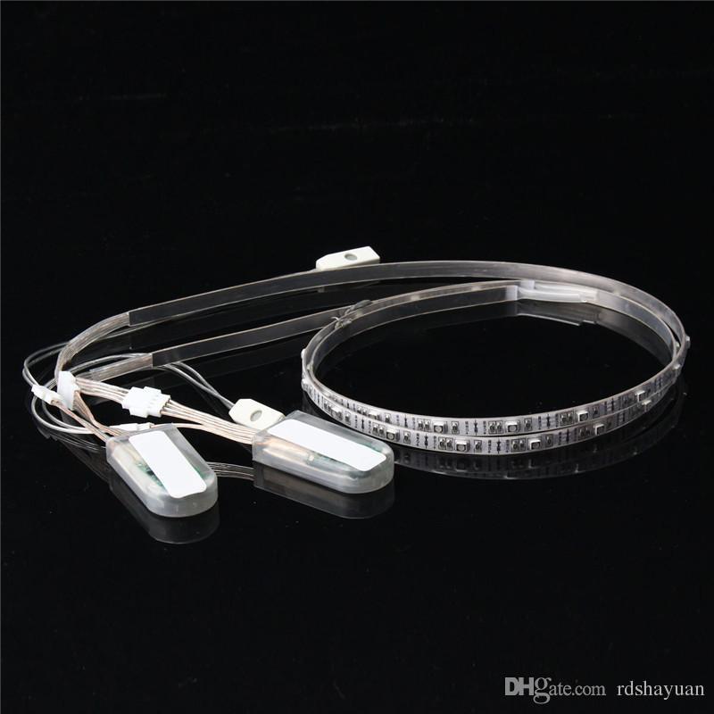 60CM 24 RGB LED 스트립 빛 배터리 전원 3528 SMD USB 변경 다채로운 LED 스트립 신발 DIY 조명