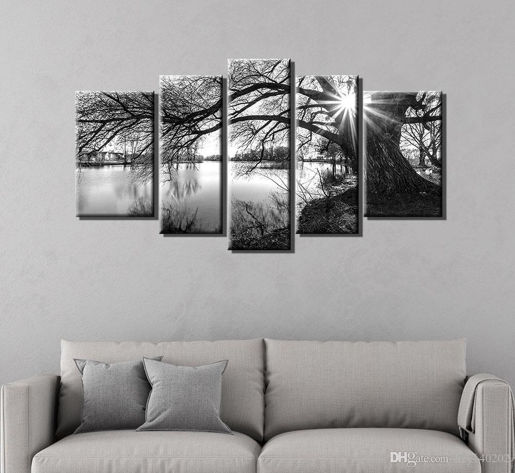 YIJIAHE Painting Modern Wall Art,Black and White Tree Print on Canvas,Contemporary Framed Artwork for Living Room Bedroom Decoration