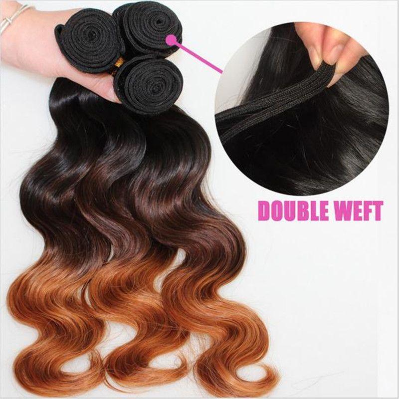 Virgin Malaysian Body Wave Wavy Ombre Hair Wefts #1B/4/30 Dark Roots Three Tone Colored Malaysian Human Hair Weave Bundles