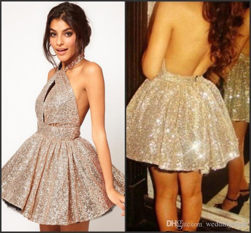 2016 Hot Sale Sparkling Gold Sequins Dresses Sexy A Line Halter ...