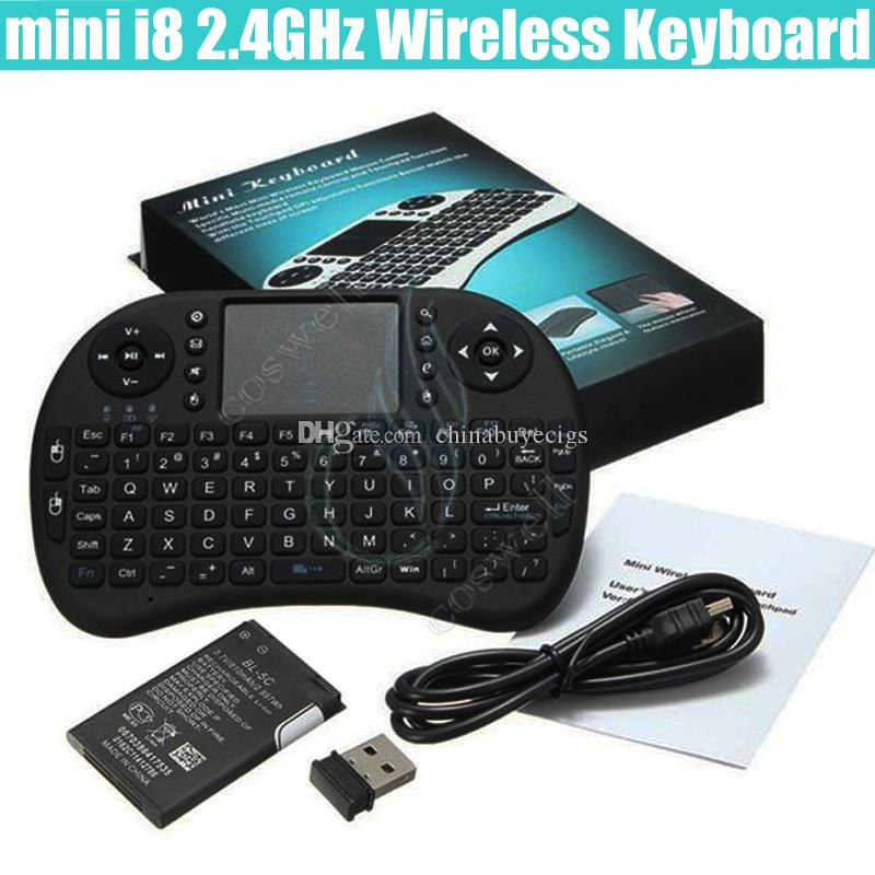 mini i8 Wireless Keyboard 2.4G RII rechargeable battery Touchpad Remote Control bluetooth Fly Mouse PC Pad Andriod TV Box Xbox360 PS3 DHL