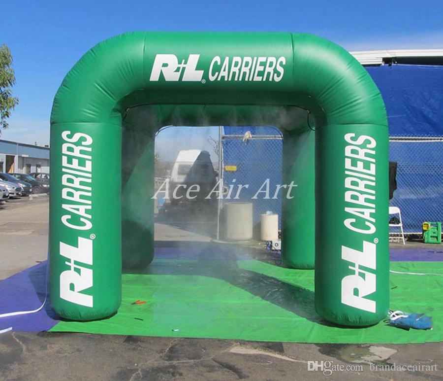 Customizable cooling spraying station tent, inflatable misting tent for leisure resort beach
