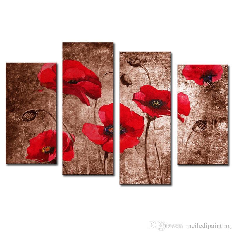 4 Picture Combination Red Poppy Flower Art Stampe su tela di dipinti floreali su tela Wall Art for Wall Decorazione la casa