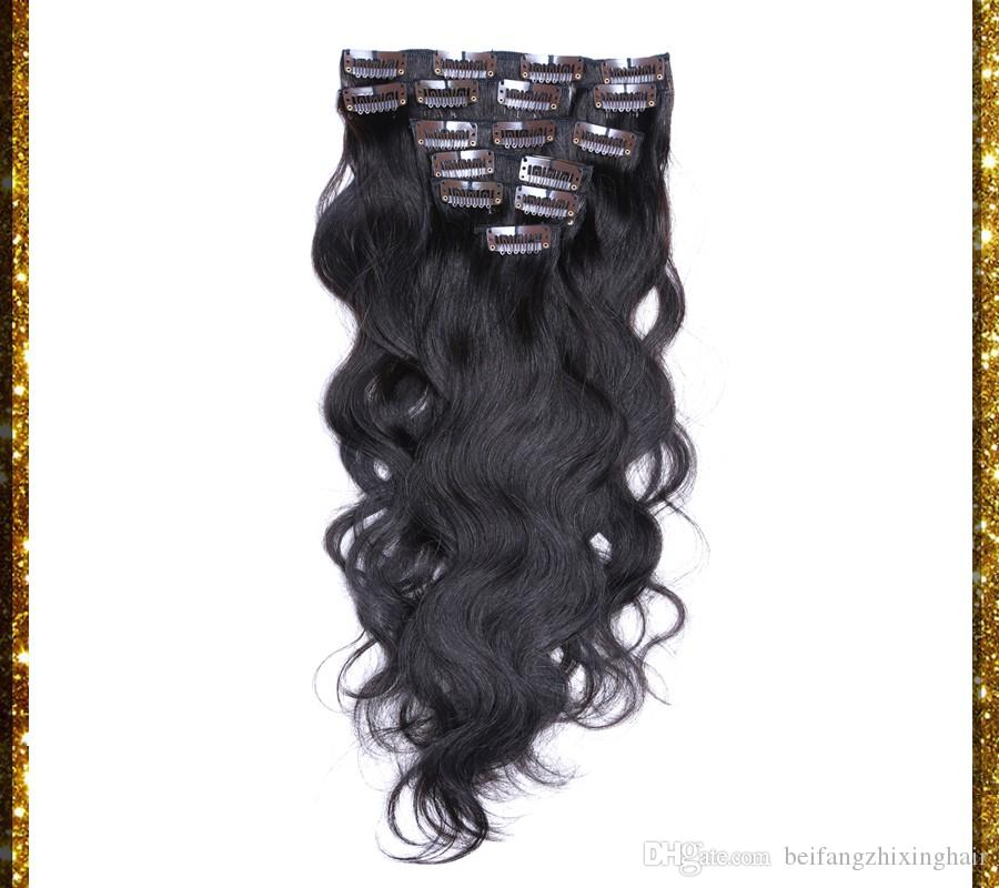 7A Remy Clip In Menschenhaar 70g 100g 120g 140g 160g 180g 7/8 / Virgin brasilianische Körperwelle 1 # Jet schwarz Clip In Haarverlängerungen Dhl frei