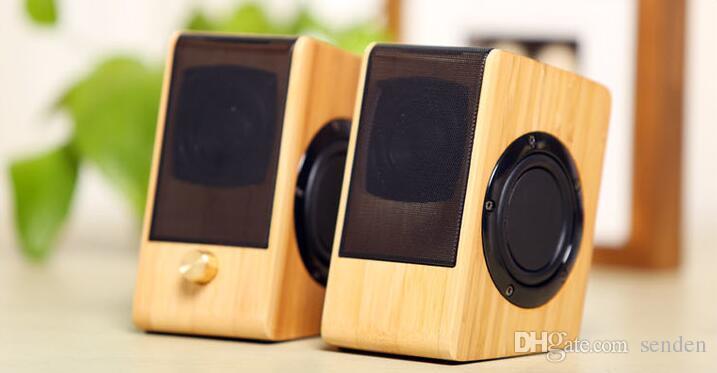 Bambú natural Multimedia Multimedia Bass Steeo Steereo Altavoz de bambú completo Subwoofer 2.0 Altavoz de madera de madera para PC / Laptop / Teléfonos celulares