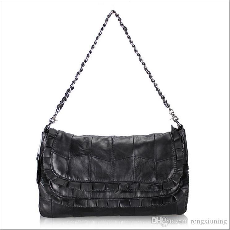 Hot Network Selling New Satchel Black Sheepskin Stitching Lady s Shoulder  Pack Chain Strap Single Lotus Leaf Fashion Handbags Women s Handbag Zipper  ... 1ffb21b94c