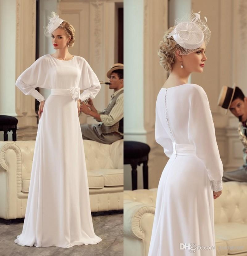 Vintage Wedding Dresses Usa: Discount Vintage Silk Chiffon Wedding Dresses Elegant Long