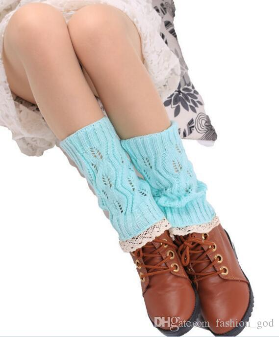 Lace Crochet Leg Warmers Knit Ballet Boot Cuffs Women Trim Boot Cuff Christmas Leg Warmers Booty Gaiters Boot Covers Knee High Socks B2605