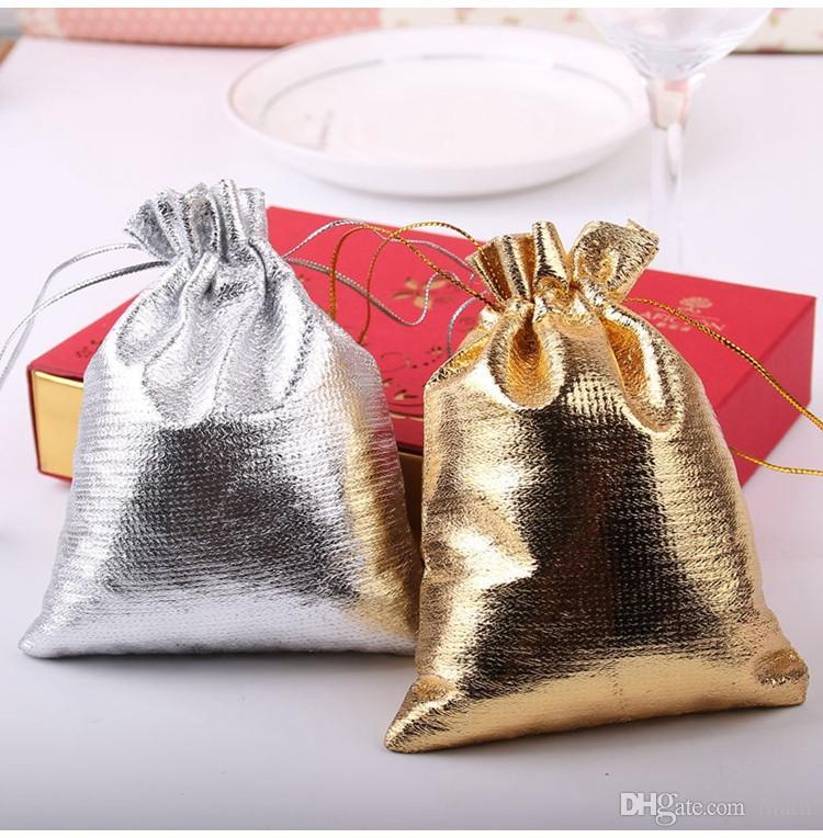 4sizes Fashion Gold Plated Gauze Satin Jewelry Bags Jewelry Christmas Gift Pouches Bag Wedding Gift Bag 6x9cm 7X9cm 9x12cm 13x18cm