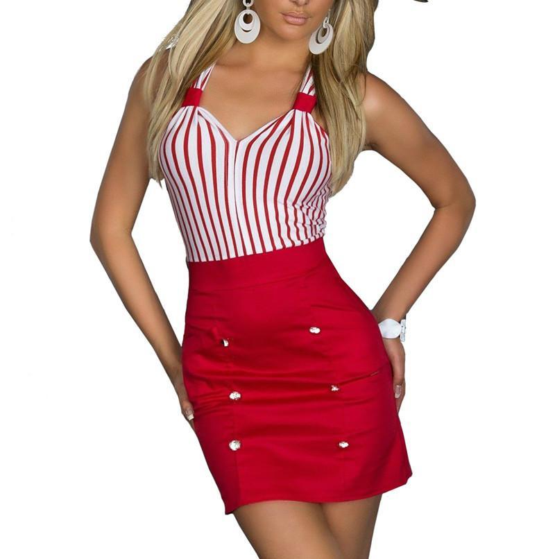 f996baf05c83 Acquista Vendita Calda Nuova Moda Plus Size Abbigliamento Donna A Righe  Aderente Sexy Dress Girl Mini Abiti Casual Regali Di Natale Costume Da  Marinaio ...