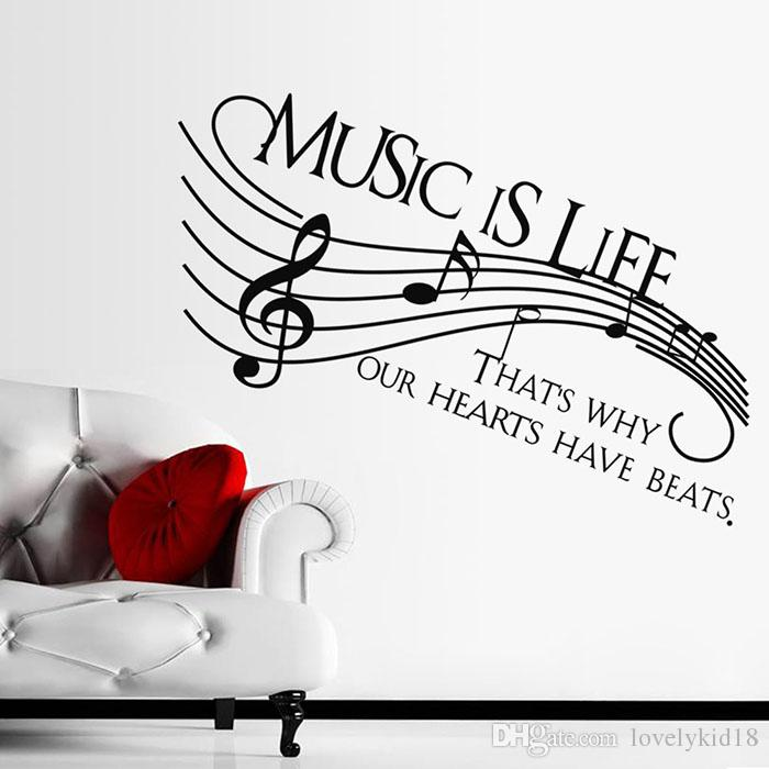 Music Is Life Wall Stickers Music Notes Quotes Wall Decals Wallpaper Art  For Room Home Decorations Ws461 Flower Wall Decals Flower Wall Sticker From  ...