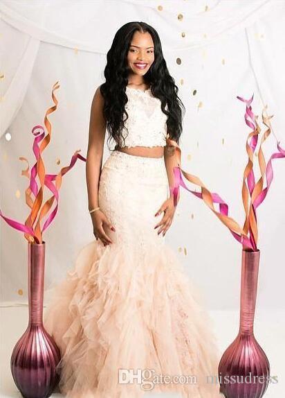 2016 İki Adet Mermaid Gelinlik Özel Şampanya Jewel Boyun Boncuklu Dantel Aplikler Ruffles Akşam Törenlerinde Pageant Törenlerinde