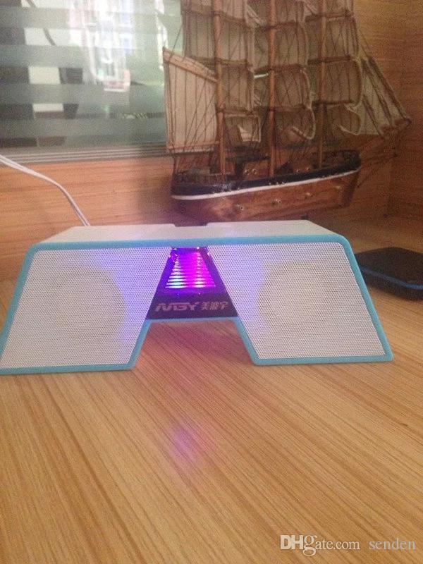 Оптовый Happy Bridge shape 2.0 Мультимедийный настольный динамик со светодиодной разноцветной подсветкой регулятор громкости для ПК / ноутбука / смартфона аудио сабвуфер