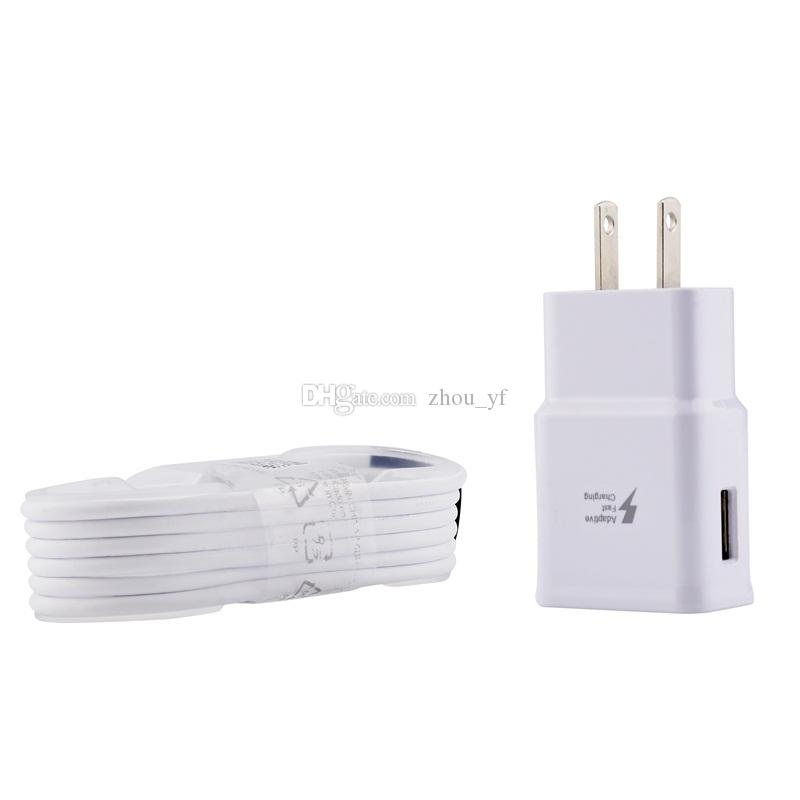 100% High Quality 2 in 1 15W adaptive 100% Fast Charging US / EU Travel Wall Charger + 1.5M Micro Usb Cable For Samsung S6 S7 Edge Note 4 5