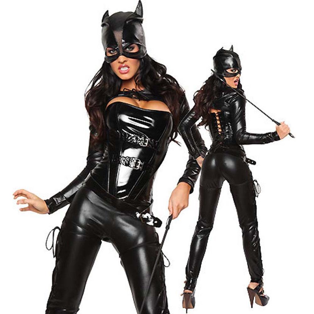 2018 black faux leather bodysuit halloween costumes for women fetish
