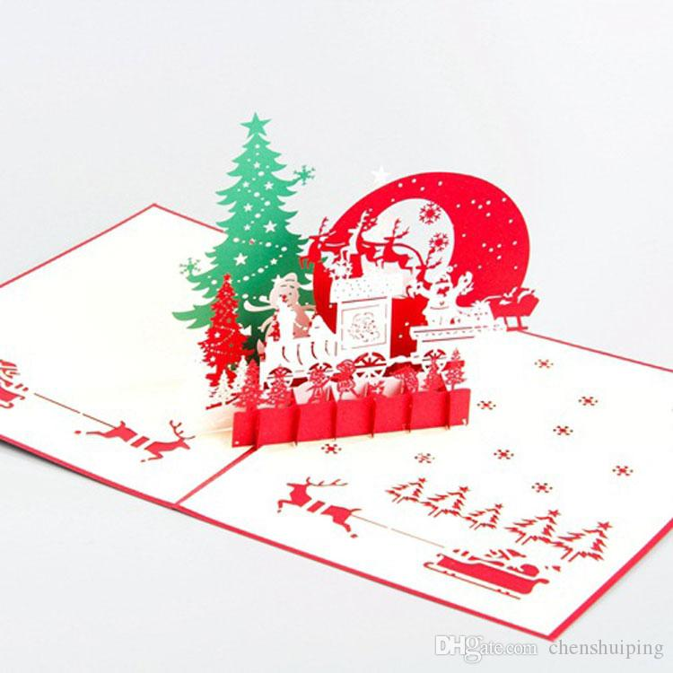 Hot Sale 3D Pop Up Krigami Origami Christmas Eve Gift Present Card ...