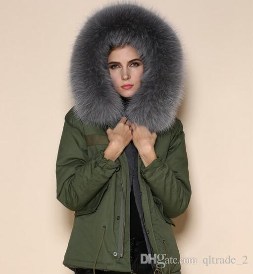 outwear Meifeng grey fur trim 100% rabbit fur lined army green mini parka warm fur jackets for women with ykk zipper