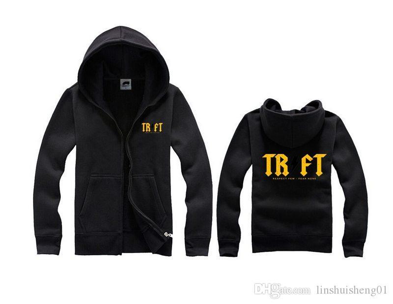 Mode versandkostenfrei Trukfit Hoodies und Sweatshirts für Männer grau-schwarz Herren Hoodies Pullover Hip Hop Hoodie