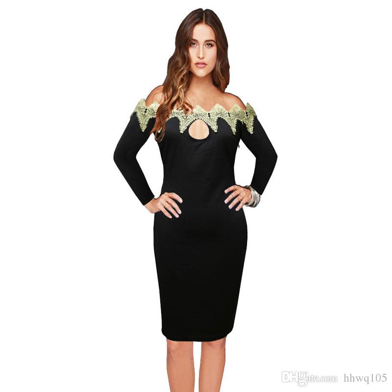 a6a80d4a535aaa Women Black Long Sleeve Casual Dress Slim Fit Lace Trim Slash Neck Pencil  Dress Fashion Keyhole Club Party Dresses S 2XL ZSJG0901 White Party Dresses  Gold ...