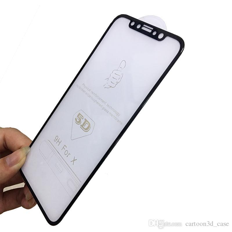 Für iPhone x 8 plus Hartglas-Frontschutzfolie Full Cover 5D Curved Hard Edge Folie Full Coverage Hartglaskante