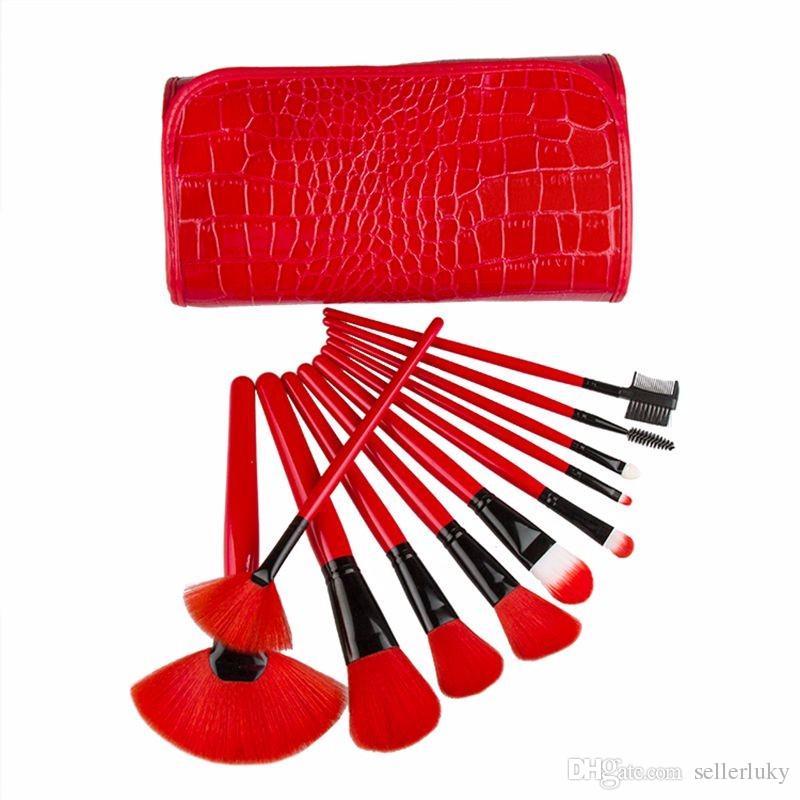 المهنية نمط تمساح حقيبة الأحمر ماكياج فرشاة مجموعة أدوات الأساس أدوات الزينة المكياج فرشاة التجميل مسحوق مزج