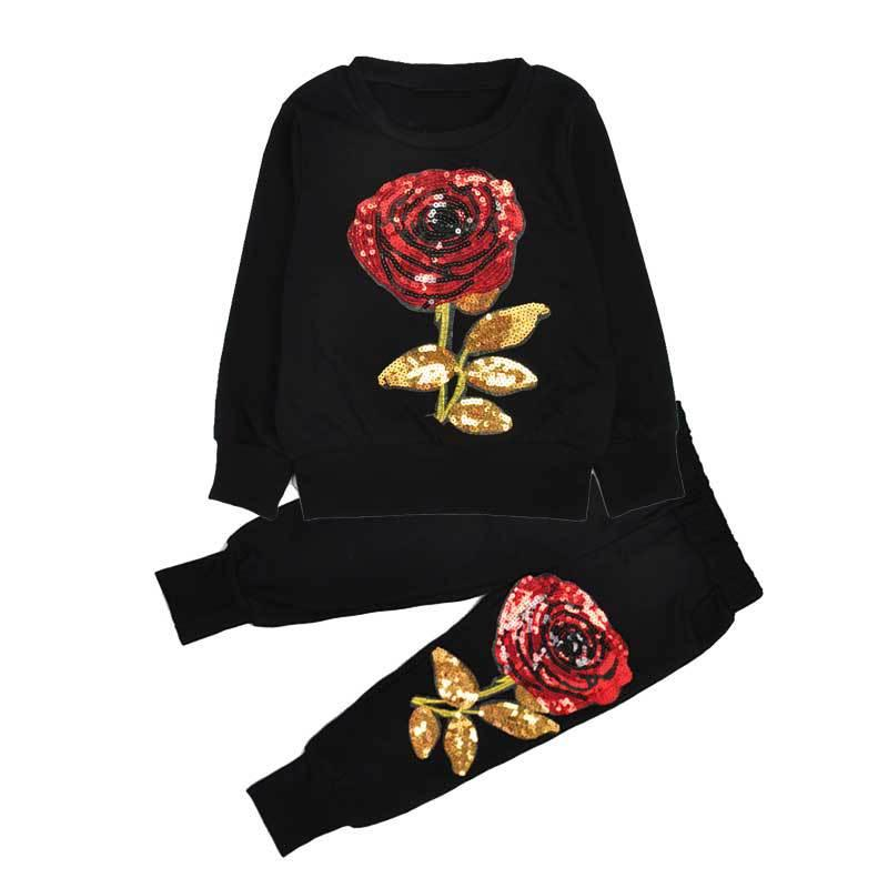2016 New Winter Style Family Matching Outfits Mother And Daughter Long Sleeve Rose Floral Sweatshirt+Pants Suit