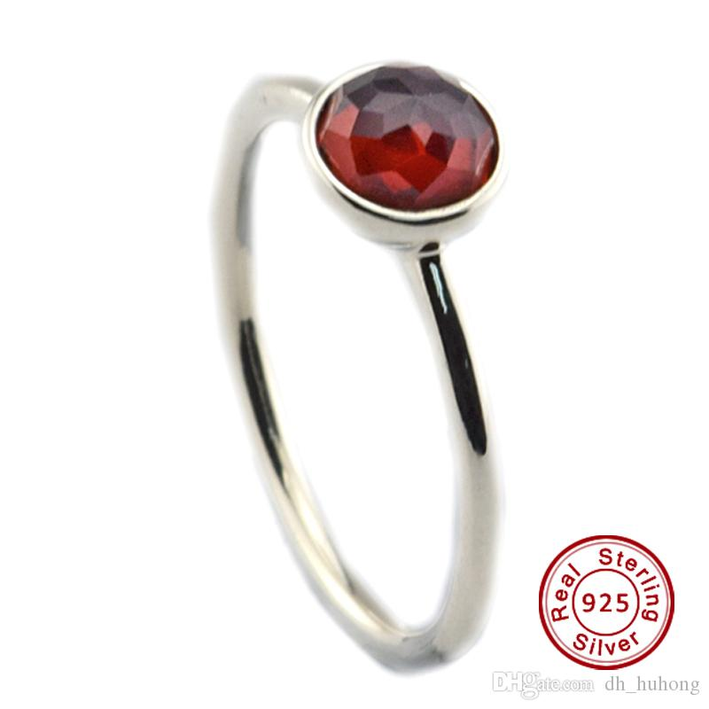 ae0d2208f ... closeout 2018 july droplet synthetic ruby 100 925 sterling silver bead  fit pandora ring fashion jewelry ...