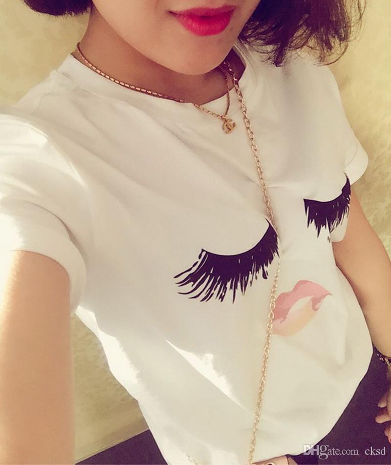 Kadınlar için moda seks LIP Kirpik baskı t-shirt tops artı boyutu hangi siyah kırpma üstleri komik baskı kısa kollu tişört WT20 WR