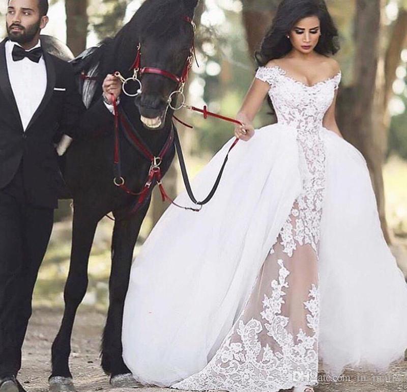 Compre Románticos Vestidos De Novia Sobrefalda Hombro 2016 Del ...