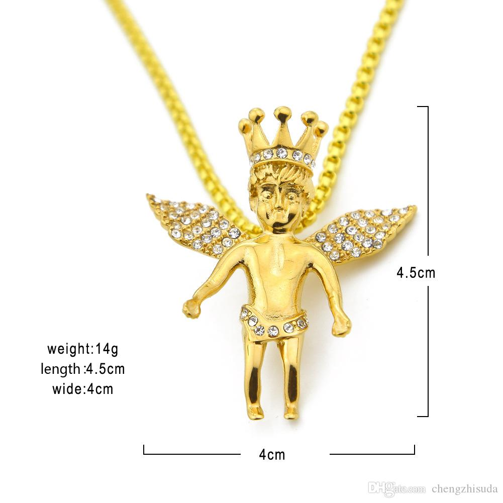 Mens Vintage Crown Angel Wing Pendant Bead Chain 14K Gold Rhodium Plated Iced Out Pendant Necklace 24 Inch Long