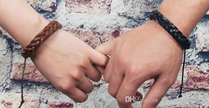 Pulseras de cuero Joyería de moda para niñas Chicos Encanto Pulseras de estilo punk Pulseras de cuero ajustable Manual Hecho a mano DIY Cadenas de manos