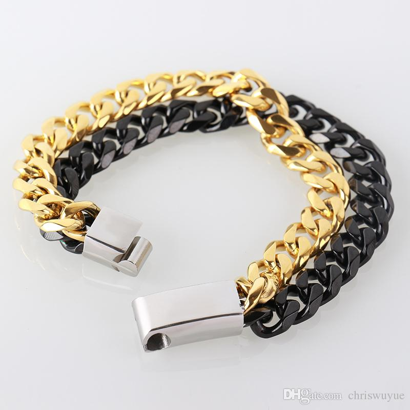 Mens Fashion Solid Stainless Steel Curb Chain Bracelet Punk Wristband Jewelry Wide Varieties Bracelets