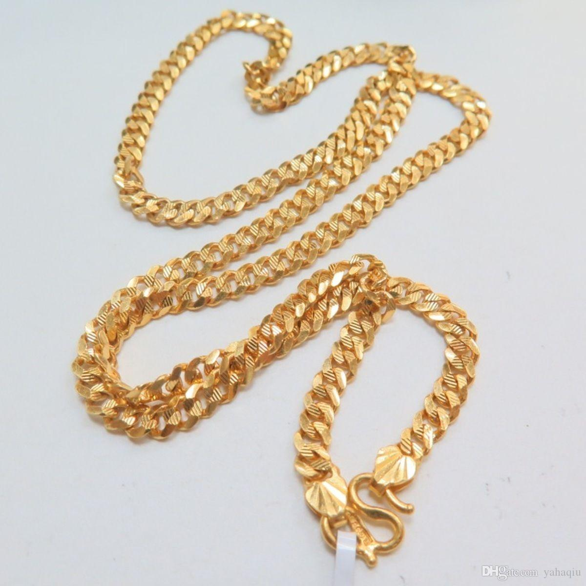 Wholesale Pure Solid 24k Yellow Gold Necklace Gents Special 5mm Tank