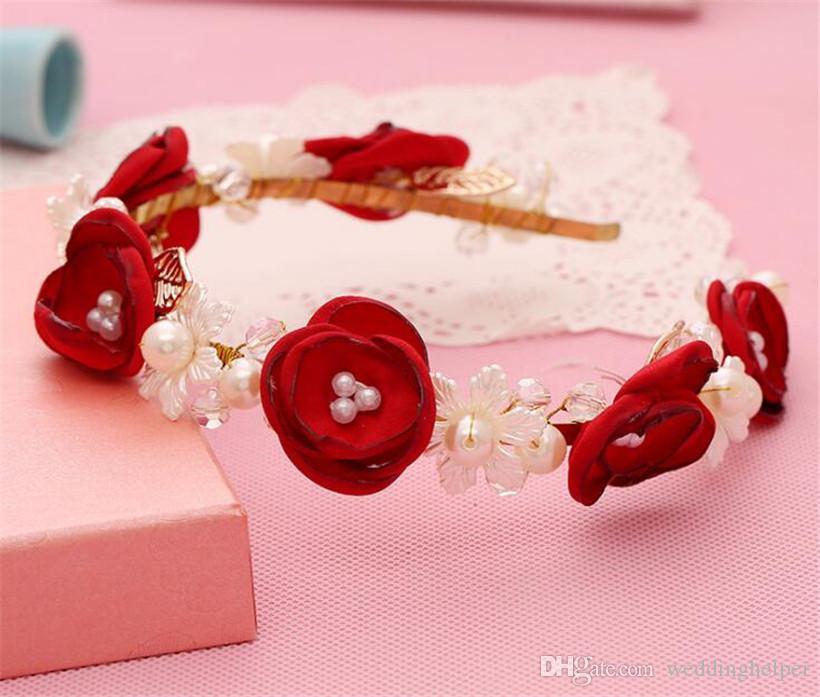 Vintage Wedding Bridal Red Rose Flower Crown Tiara Headband Pearl