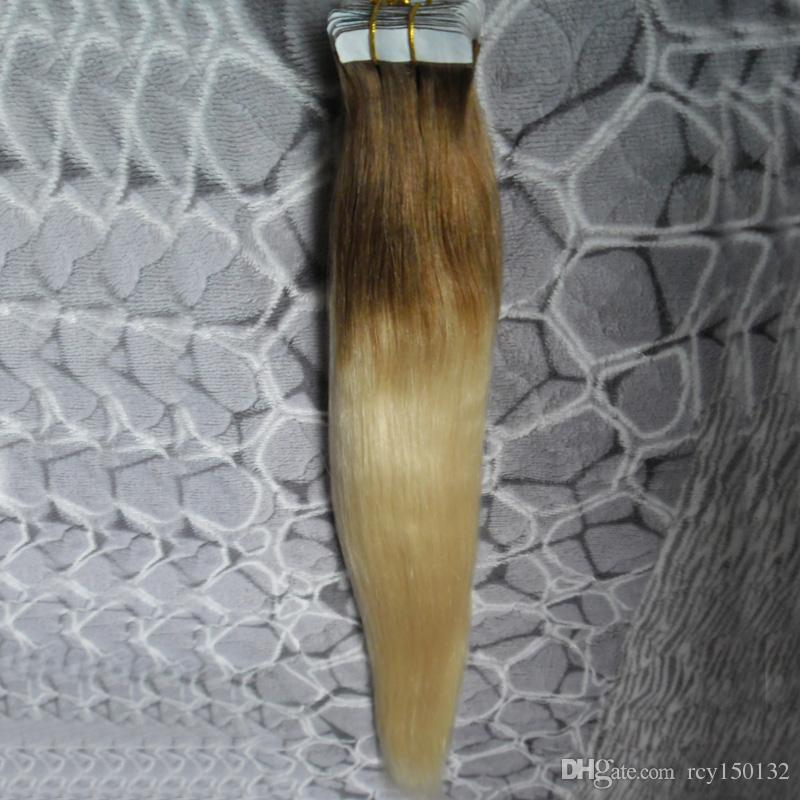 T8/613 blonde two tone ombre hair Straight tape in human hair extensions 100g skin weft tape hair extensions