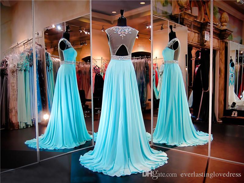 Colher Turquesa Chiffon Prom Vestido Mão Beading Sash Ilusão Voltar Long Vestido de Noite Cristais Pageant Vestido Vestido De Festa