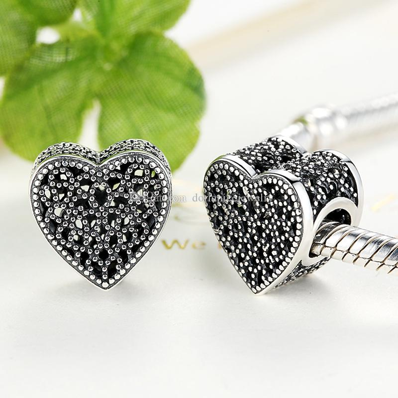 Filled with Romance Stylish Heart Charm in Sterling Silver Fits DIY Pandora Style Bracelets S268