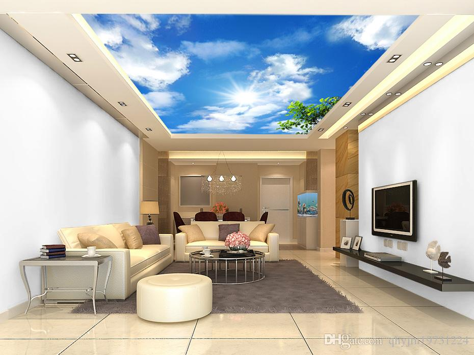 Custom 3D nonwoven zenith blue sky and white clouds apply wall stickers wallpaper the living room bedroom Restaurant Hotel Arcade, shipping
