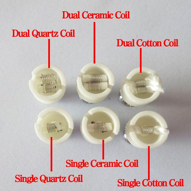 Kuvars atomizer çift balmumu bobin seramik Çörek rebuildable atomizer çekirdek için balmumu cam küre buharlaştırıcı kalem kuru ot buhar değiştirme e cigs