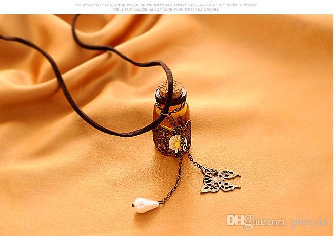 Botella de vidrio Aromaterapia Difusor de Aceite Esencial Collar Medallón Colgante de Joyería con 24