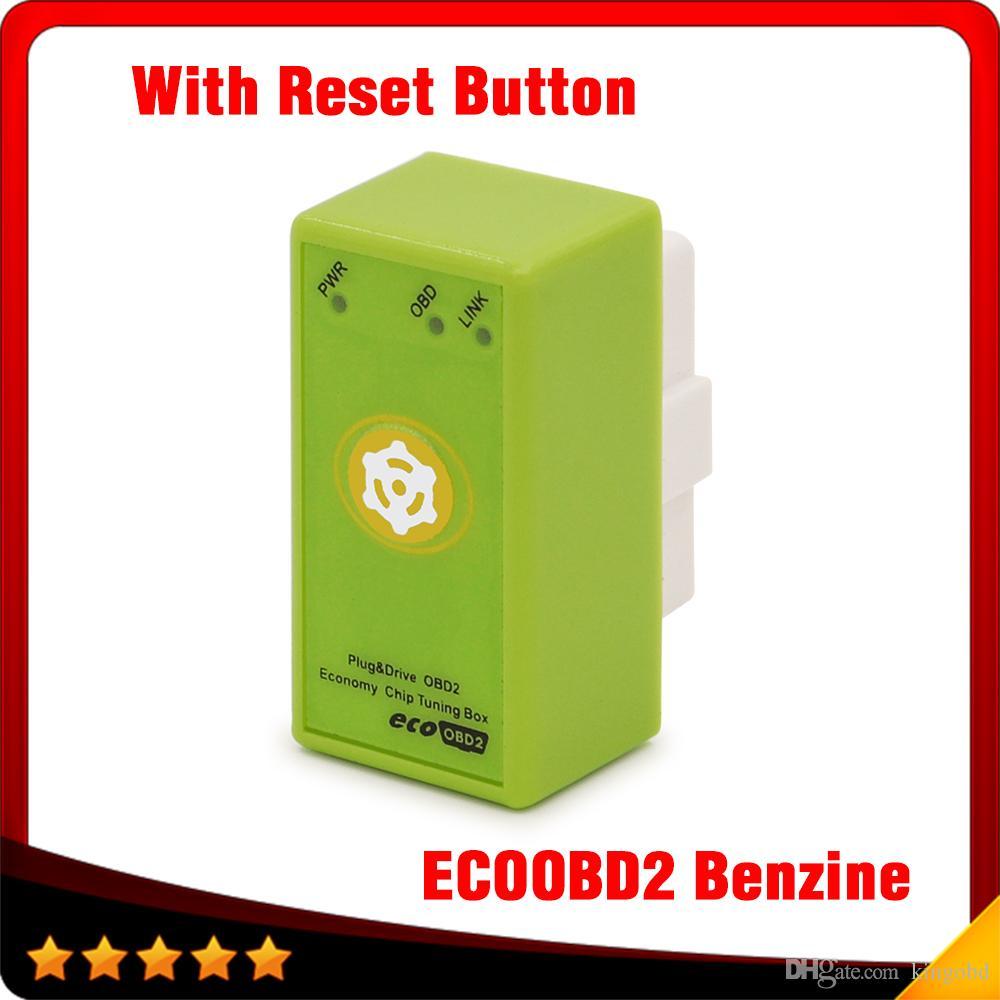 ECOOBD2 Benzine Car Chip Tuning Box Plug Drive OBD2 Chip Tuning Box Lower  Fuel Lower Emission With Reset Button free shipping
