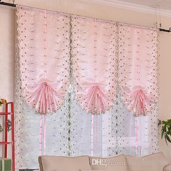 2018 Pink / White Joyous Roman Blinds Short Curtain Curtains For ...