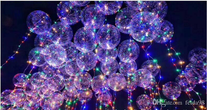 أضواء led سلسلة الإضاءة المتعري بالون تضيء لعب موجة الكرة 18 بوصة بالونات الهيليوم عيد هالوين الديكور اللعب
