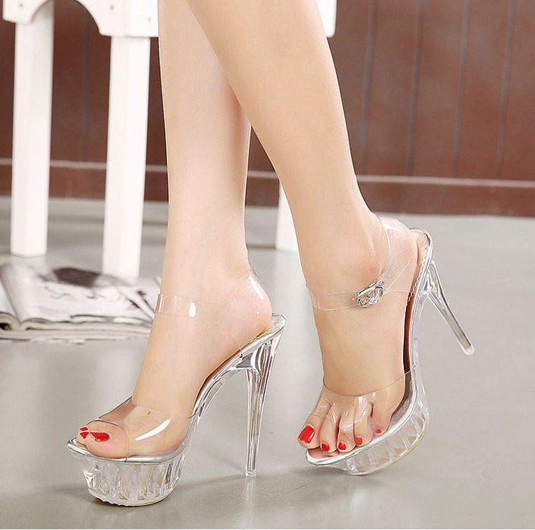 7a71bd9e Compre 14 CM Tacón Heel Sandalias De Las Mujeres De Verano Plataforma De  Cristal Sandalias Para Las Mujeres Zapatos De Cristal Tamaño 35 43 A $60.91  Del ...