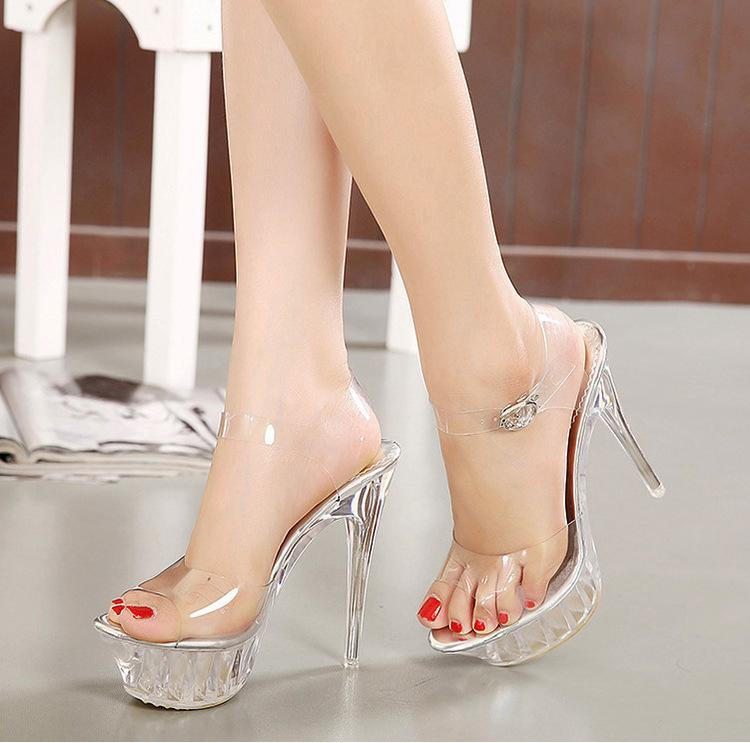 2ac791c4ebe 14CM Heel Heels Women Sandals Summer Crystal Platform Sandals For Women  Crystal Shoes Size 35 43 Bridal Shoes Cheap Shoes From Nancy161020
